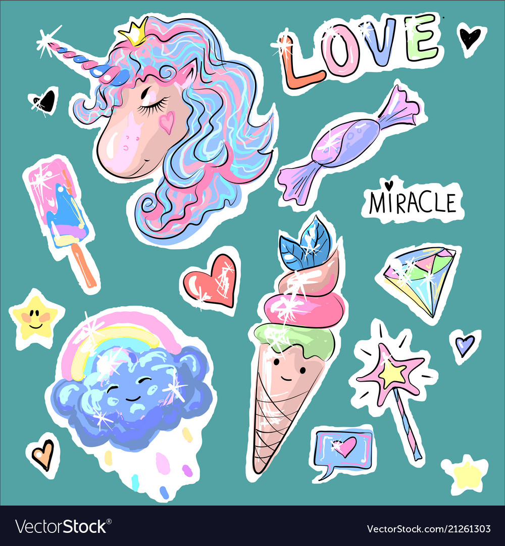 Fashion patch badges with unicorns hearts