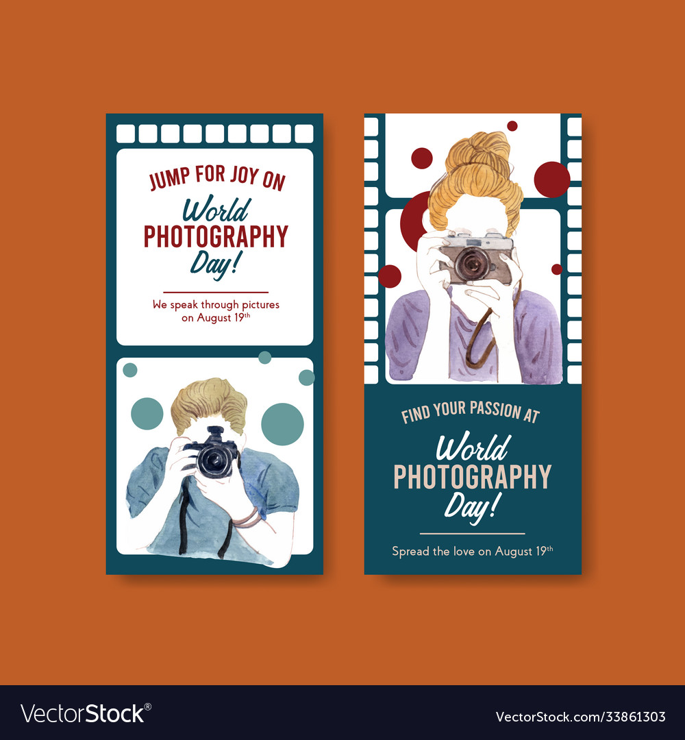 Flyer template design with world photography day