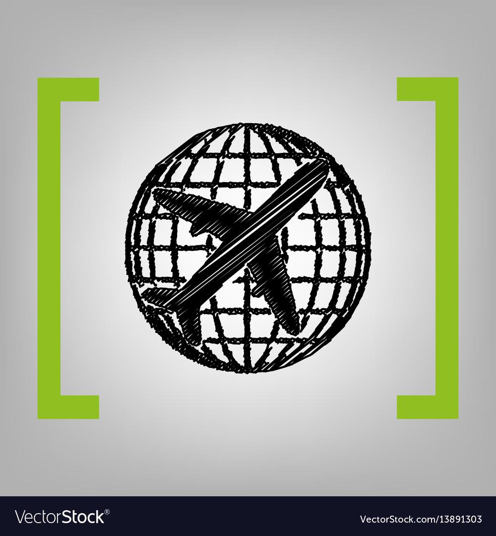 Globe and plane travel sign black