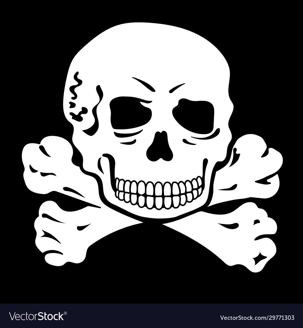 Human skull and crossbones jolly roger pirate