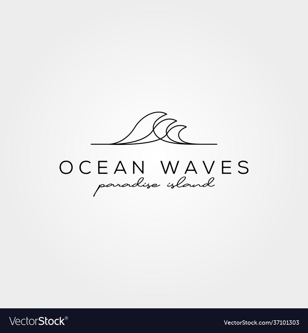 Line art wave icon logo symbol minimal design