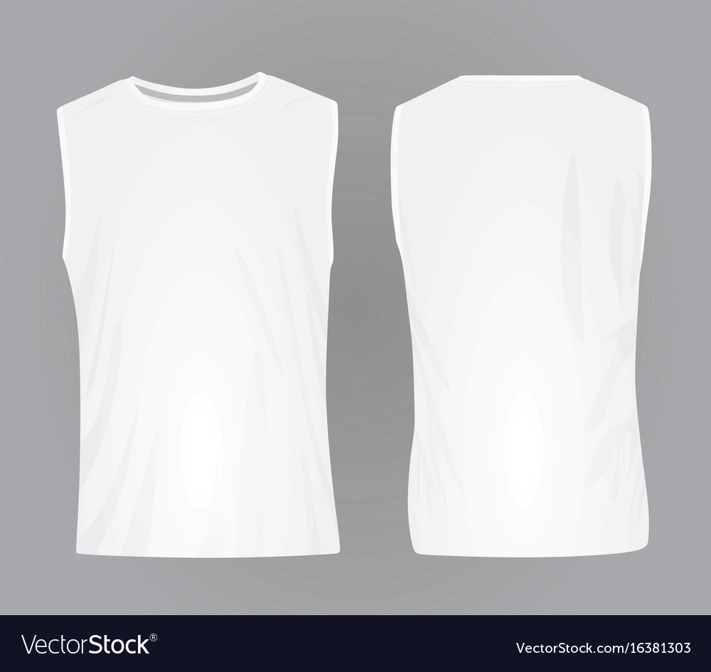 107573cc86662 Men white sleeveless t shirt Royalty Free Vector Image