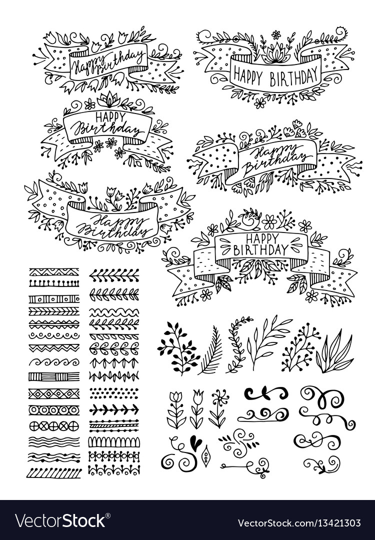Set hand-drawn floral elements ribbons for vector image