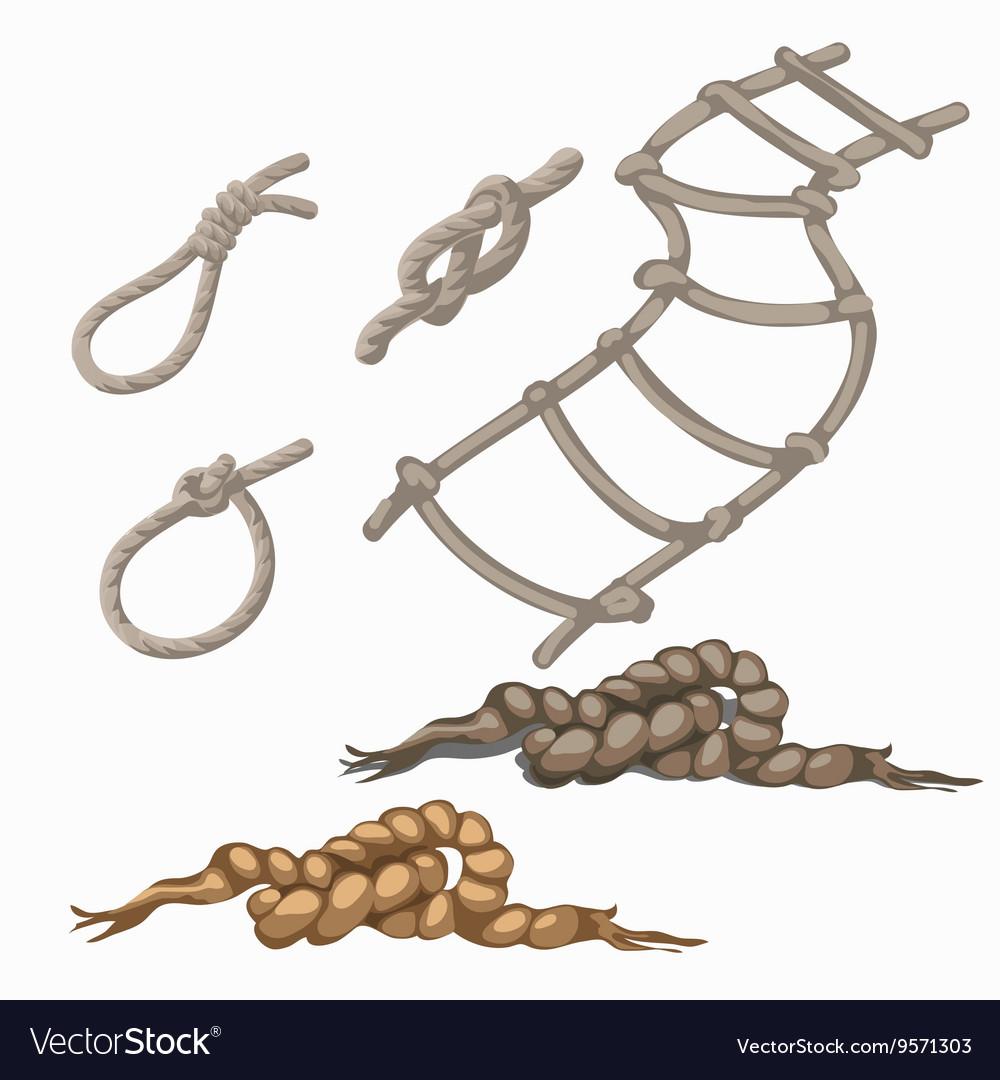 Set of rope elements ladder lasso knots loop