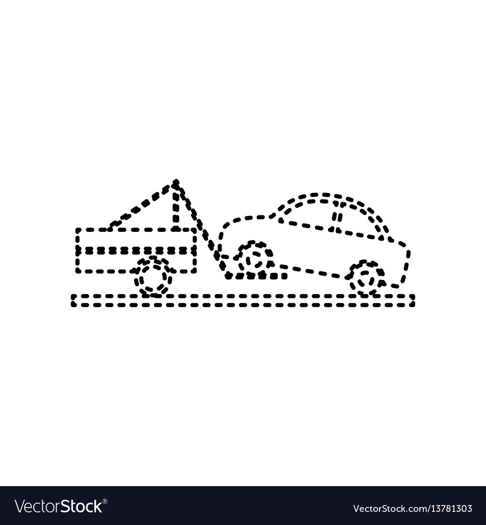 Tow truck sign black dashed icon on white vector image