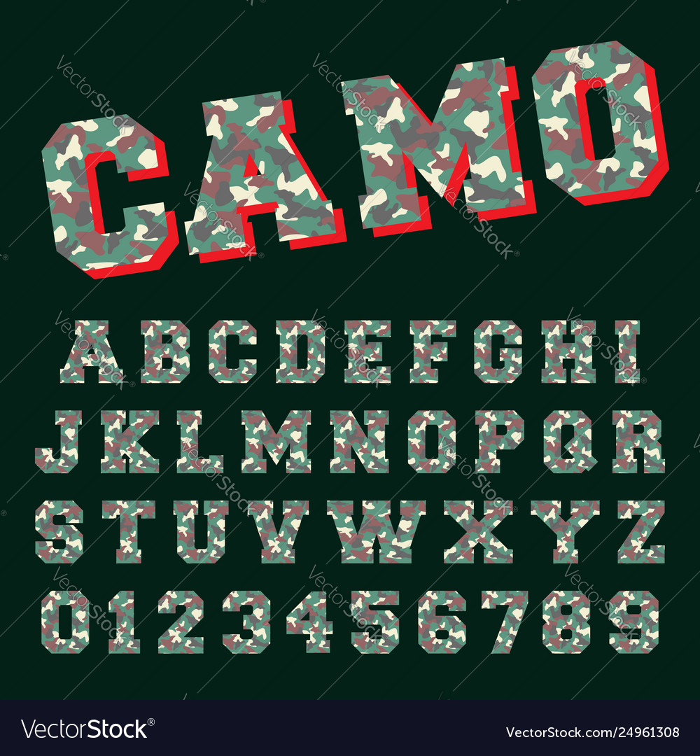 Camo alphabet font template letters and numbers