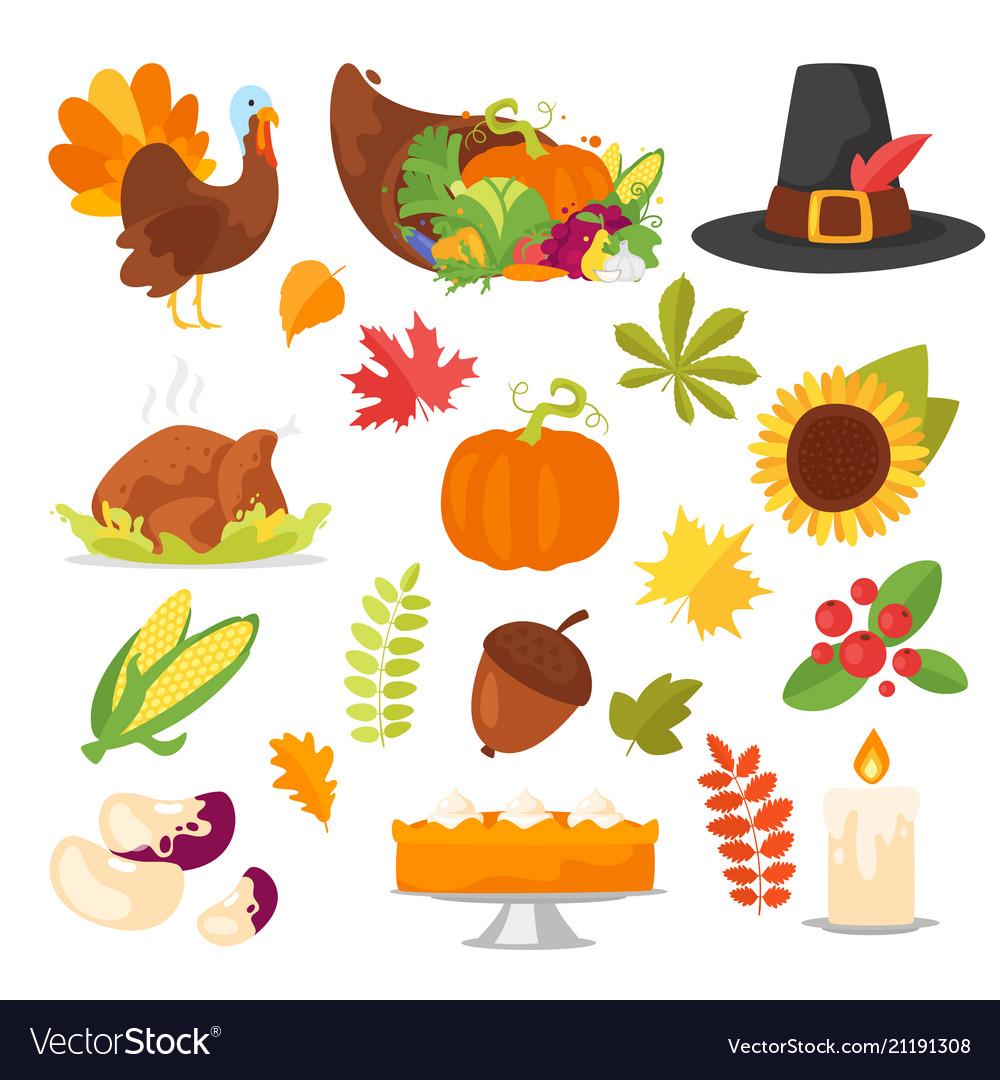 Colorful thanksgiving symbols