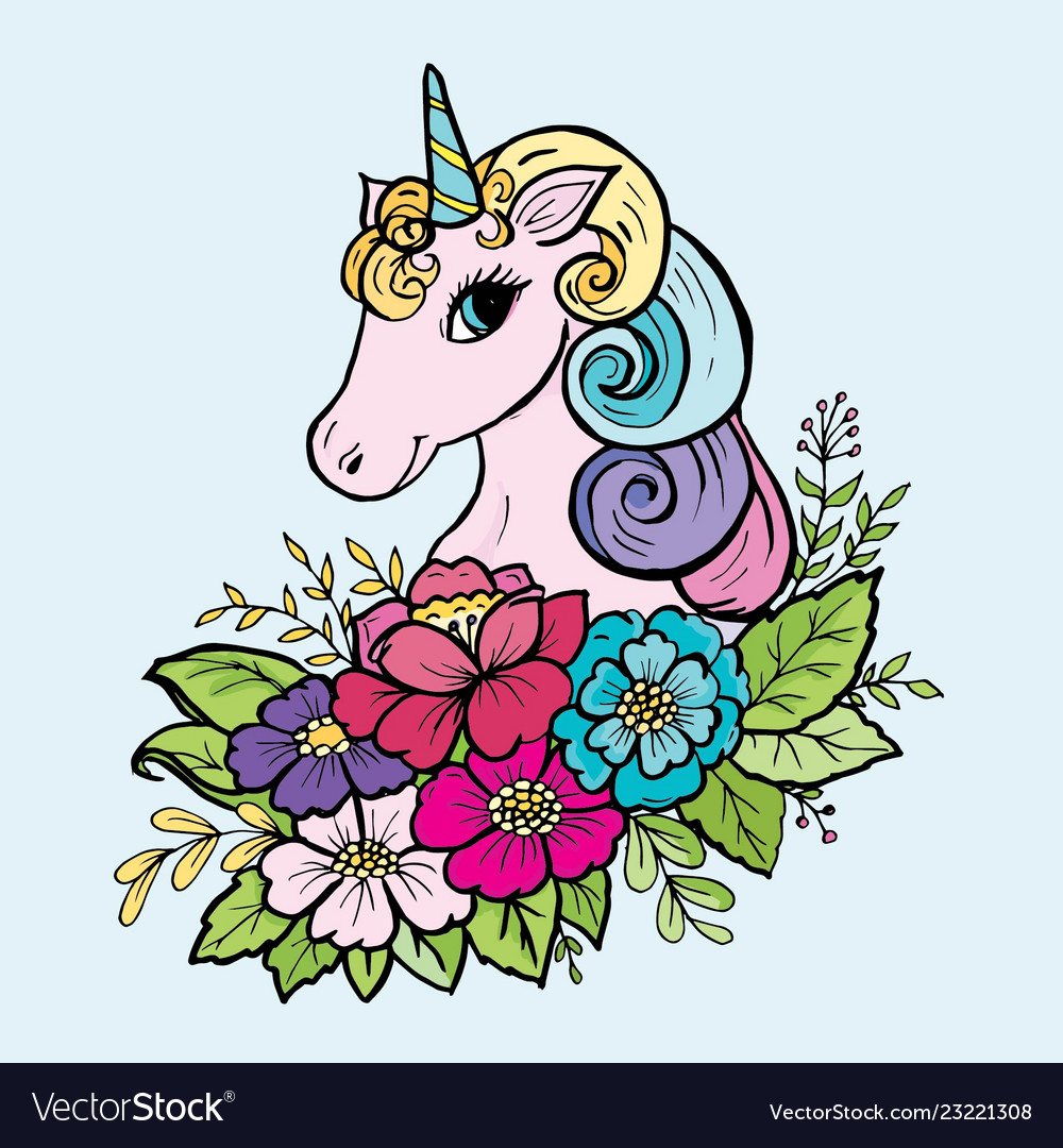 Doodle cute unicorn in the colors of the color