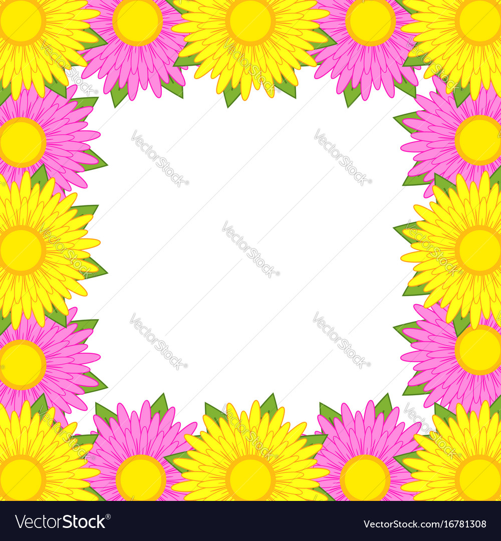 Flower Frame Of Pink And Yellow Flowers Royalty Free Vector