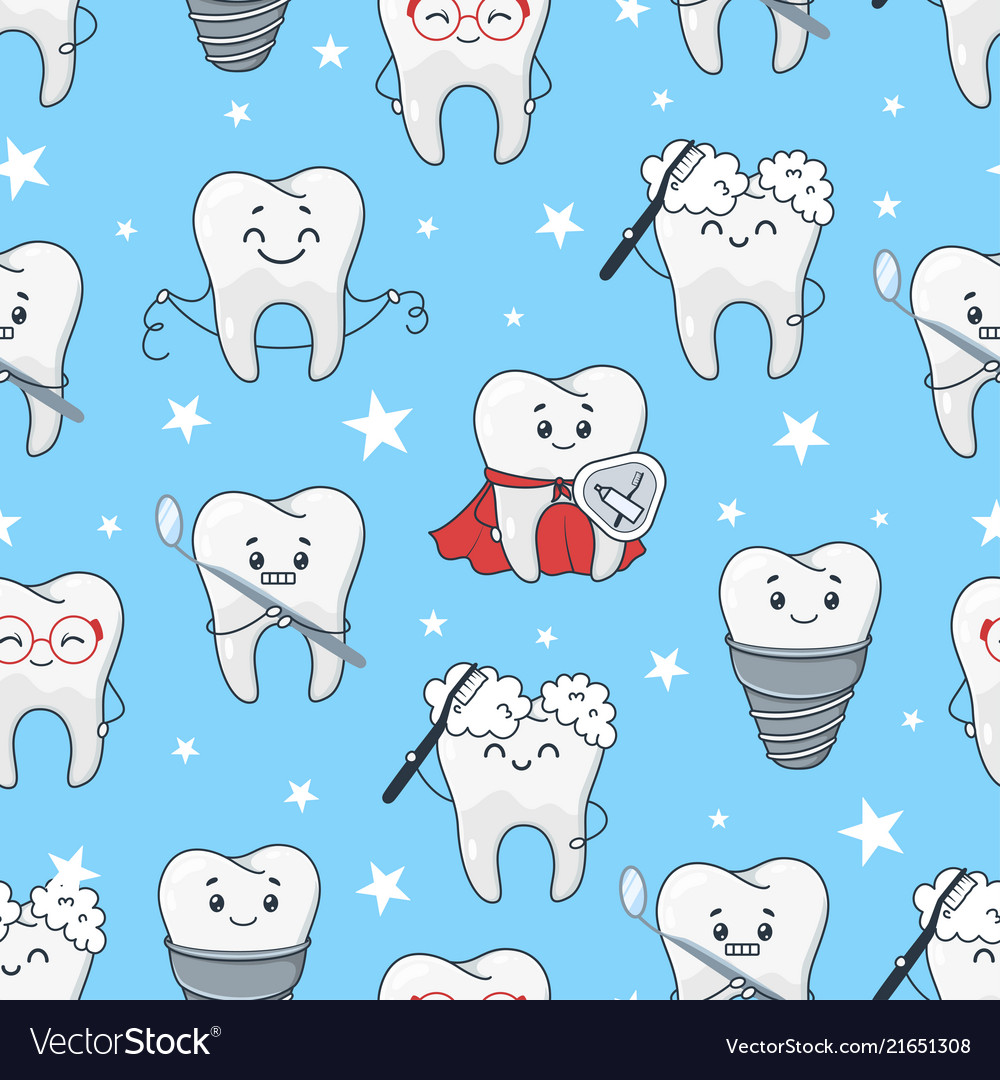 Funny teeth cartoon pattern isolated from