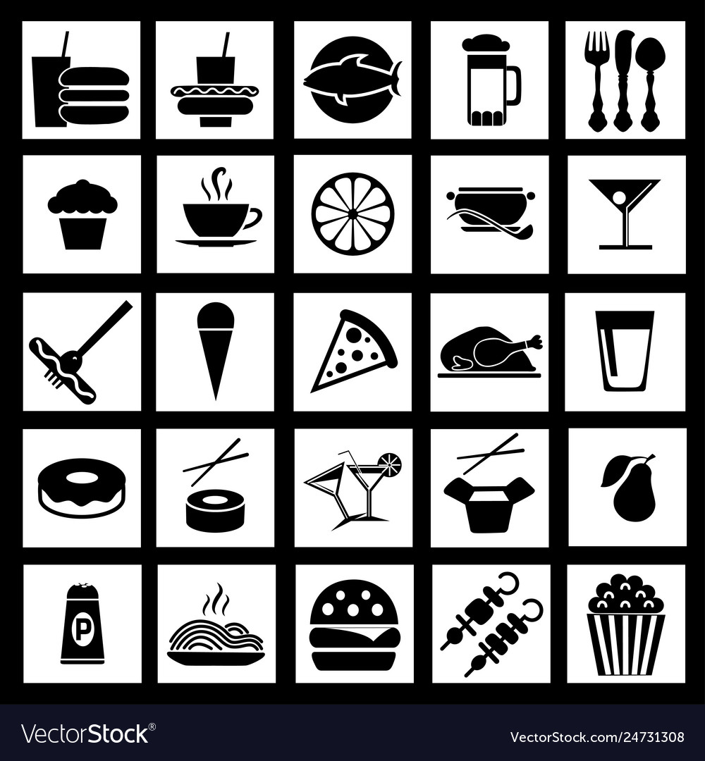 Graphic flat icons of fast food