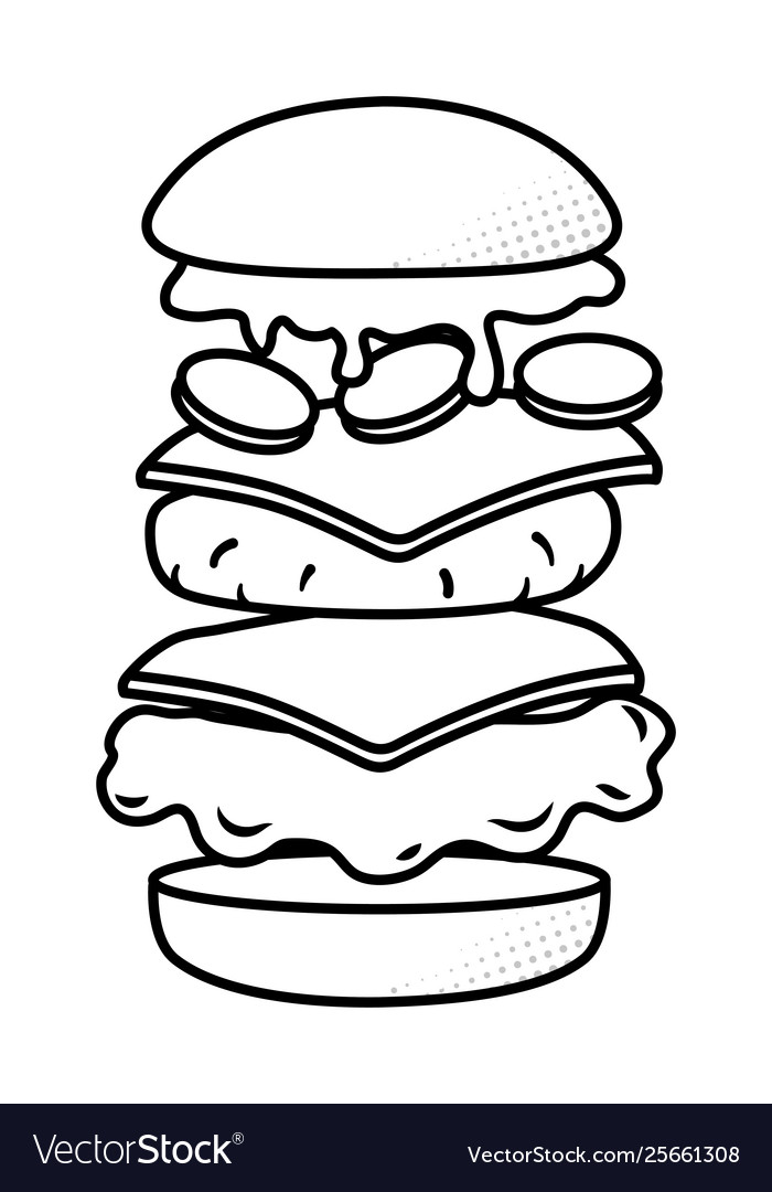 hamburger showing all ingredients black and white vector image vectorstock