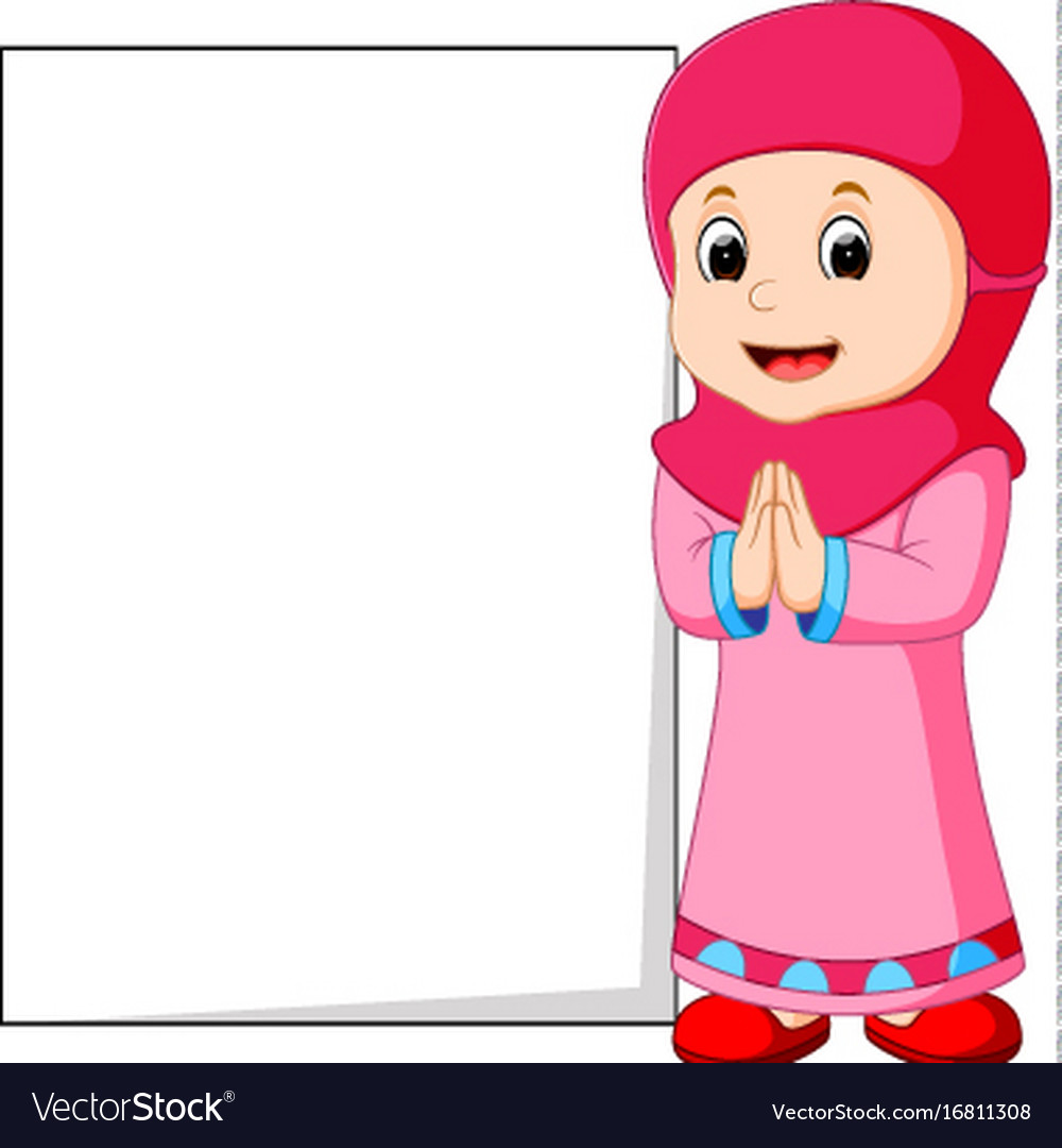 Happy muslim girl cartoon holding blank sign vector image