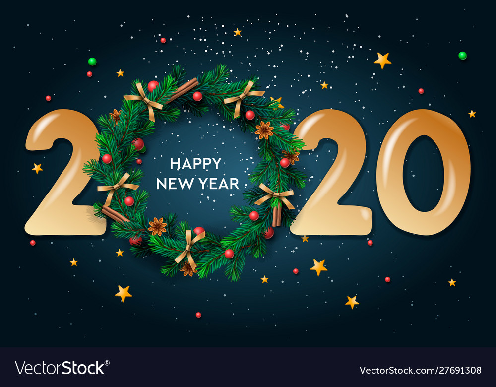 Happy new year 2020 text design greeting with and