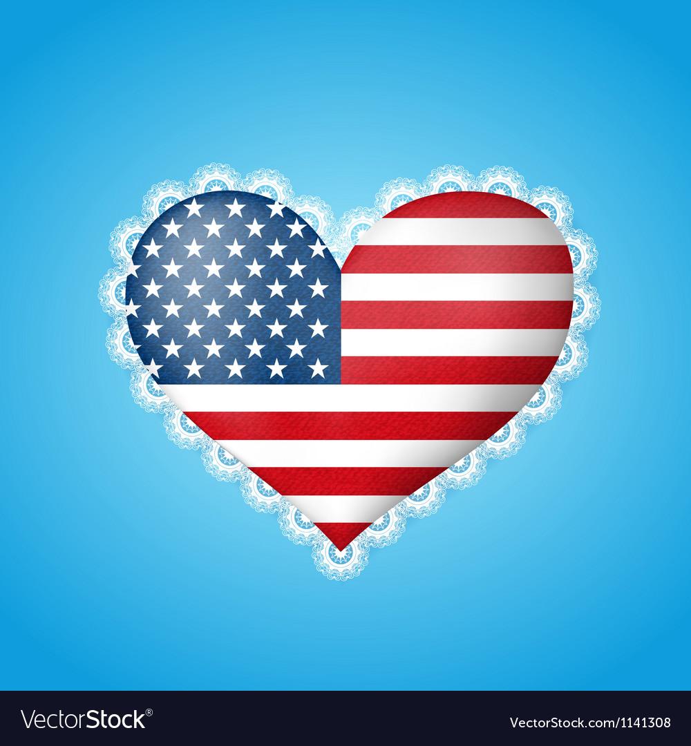 Heart shape flag of USA vector image