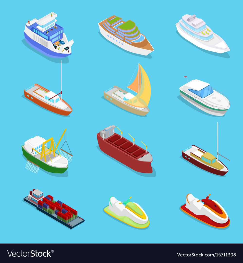 Isometric water transport set with cruise vector image