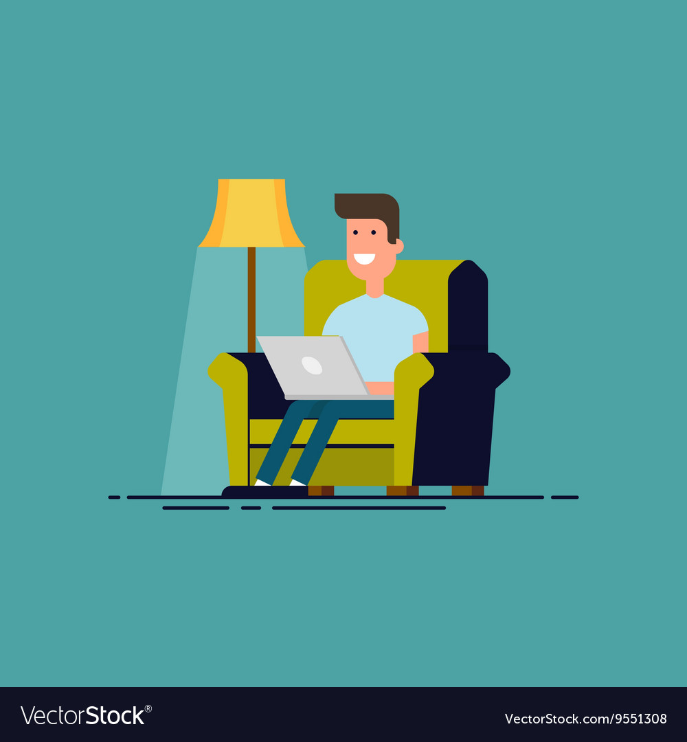 Man sitting in chair with laptop Freelancer work