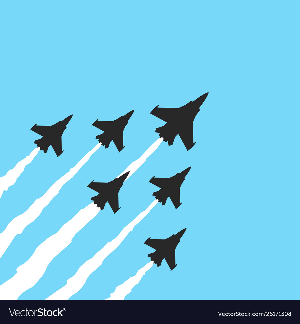 Military fighter jets on a blue background
