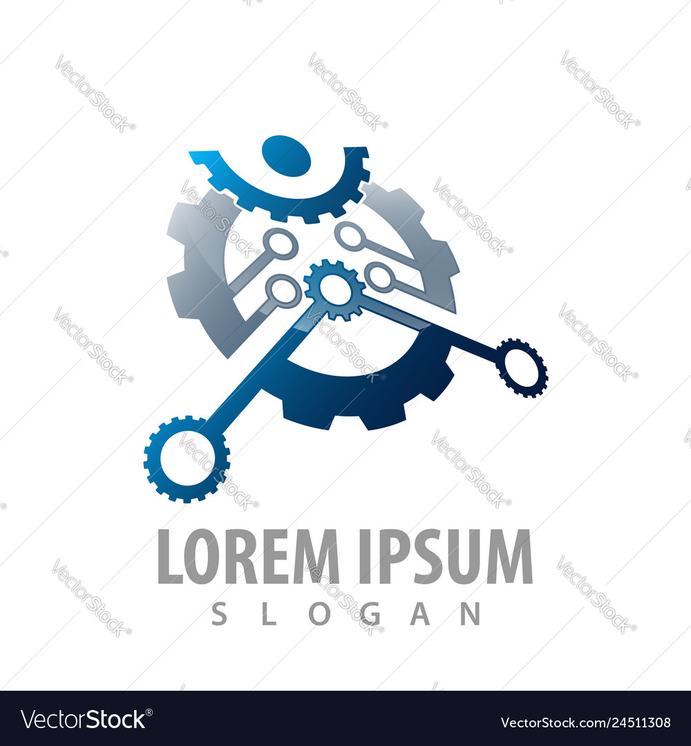 People gear industrial concept design symbol