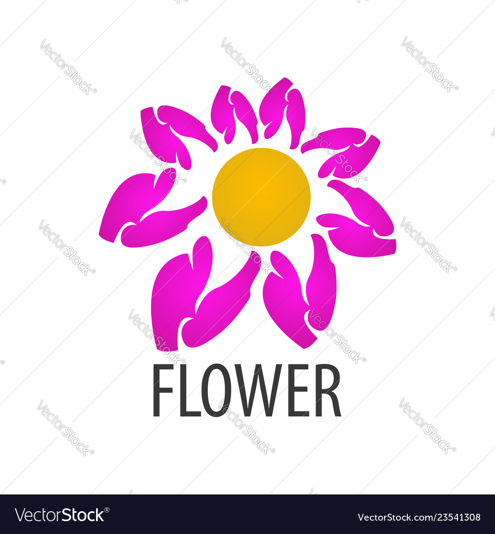 Pink flower logo concept design symbol graphic