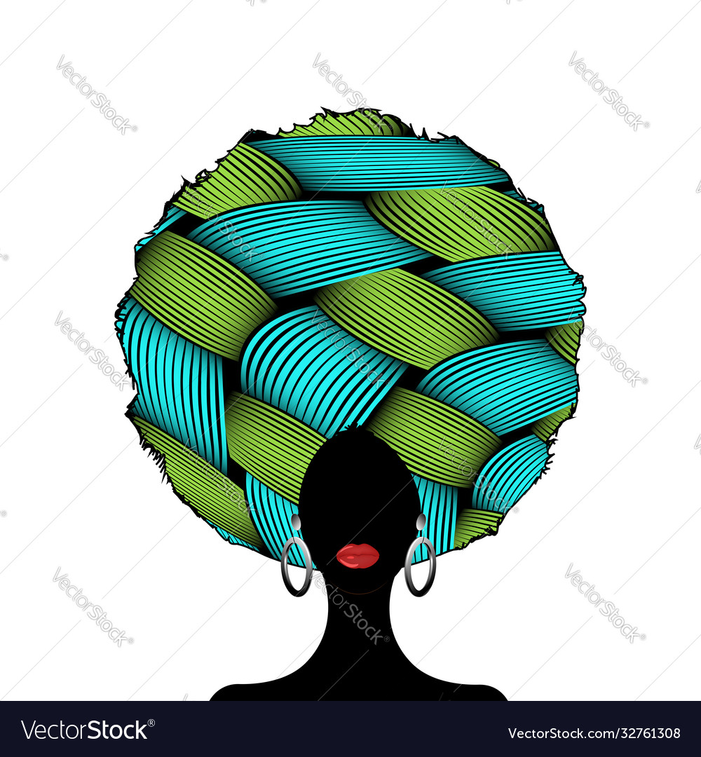 Portrait african curly woman silhouette in turban