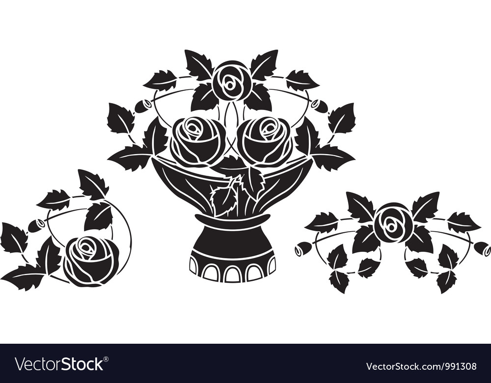 Rose stencil vector image