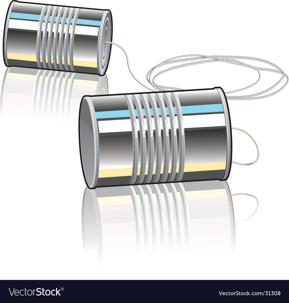 Tin can telephone vector image