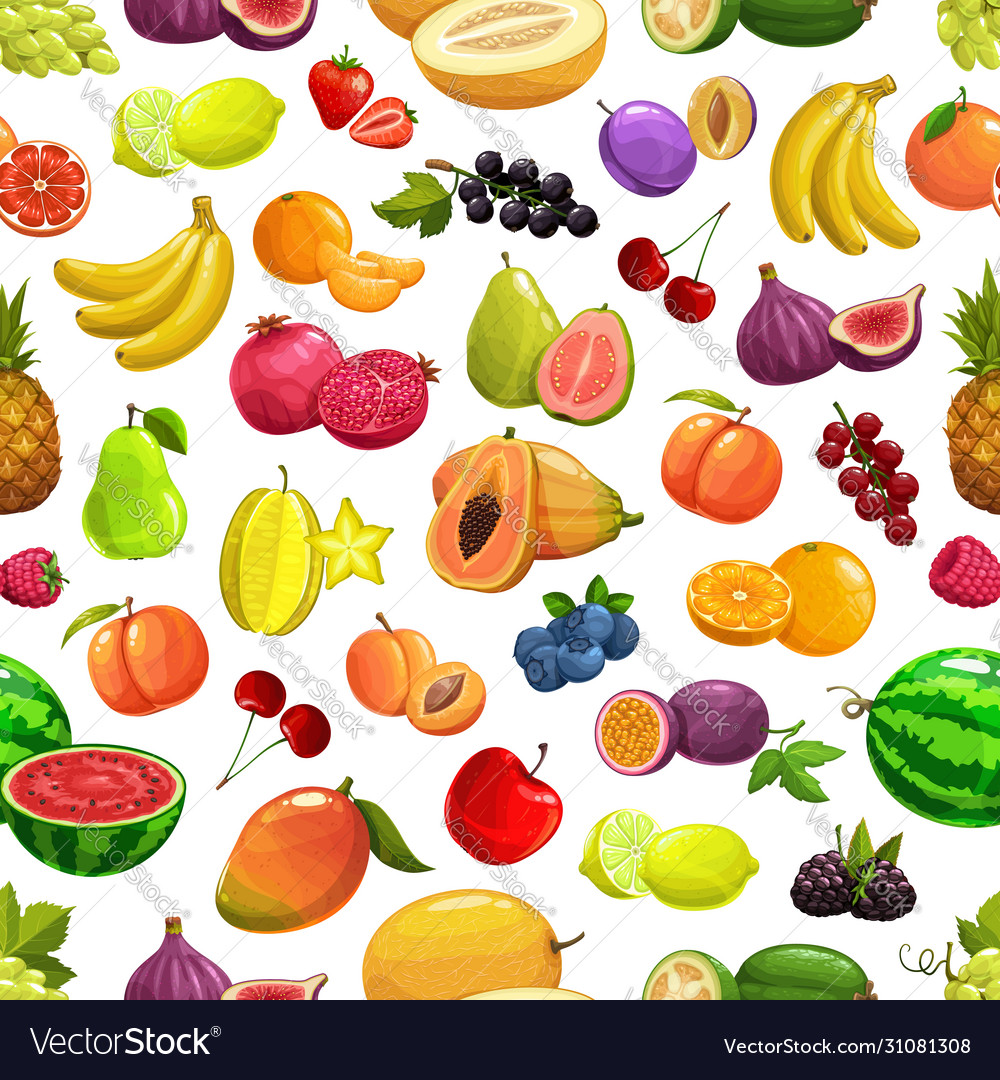 Tropical fruit and berries pattern background