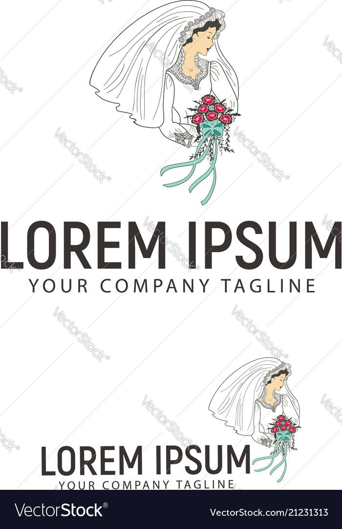 Bride with flower logo design concept template