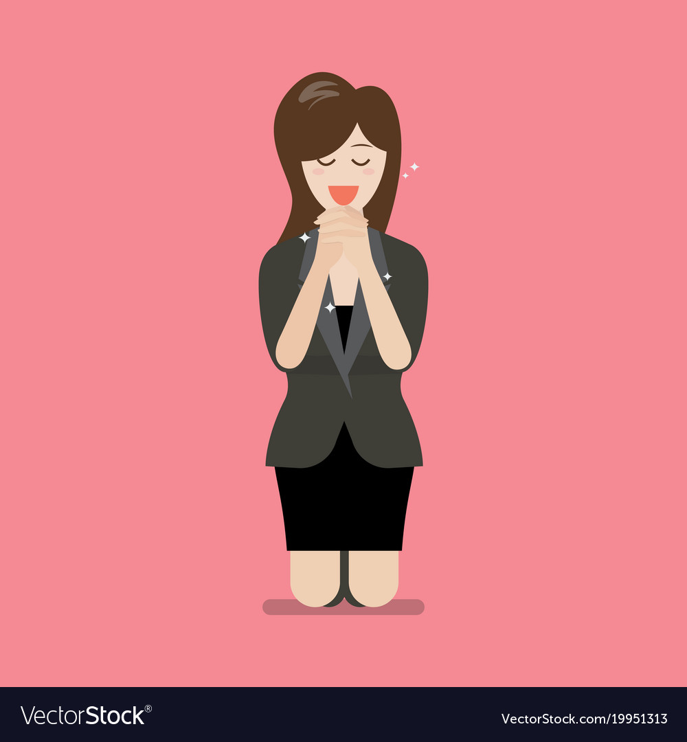 Businesss woman is on her knees and prays to god vector image
