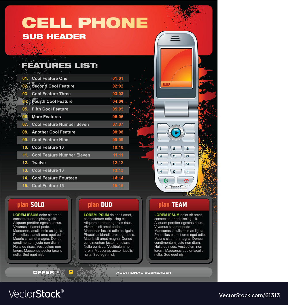 Cell phone promotional brochure vector image