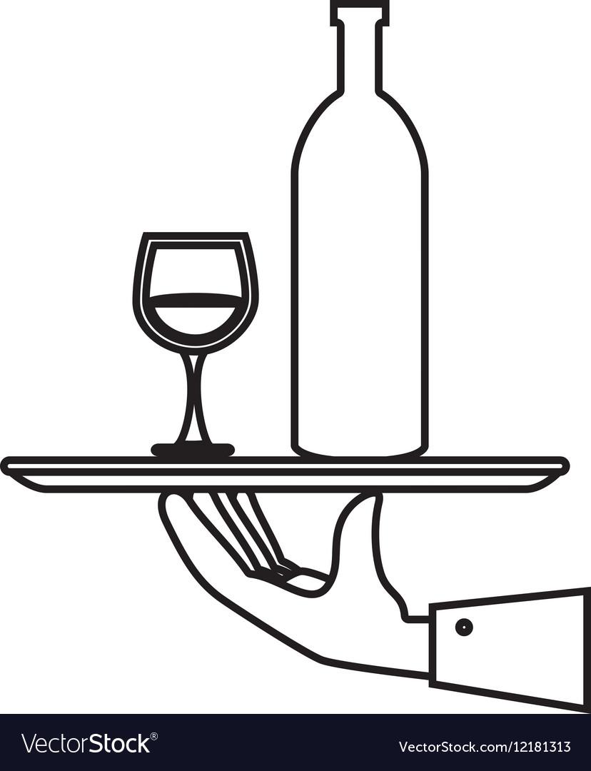Hand waiter isolated icon