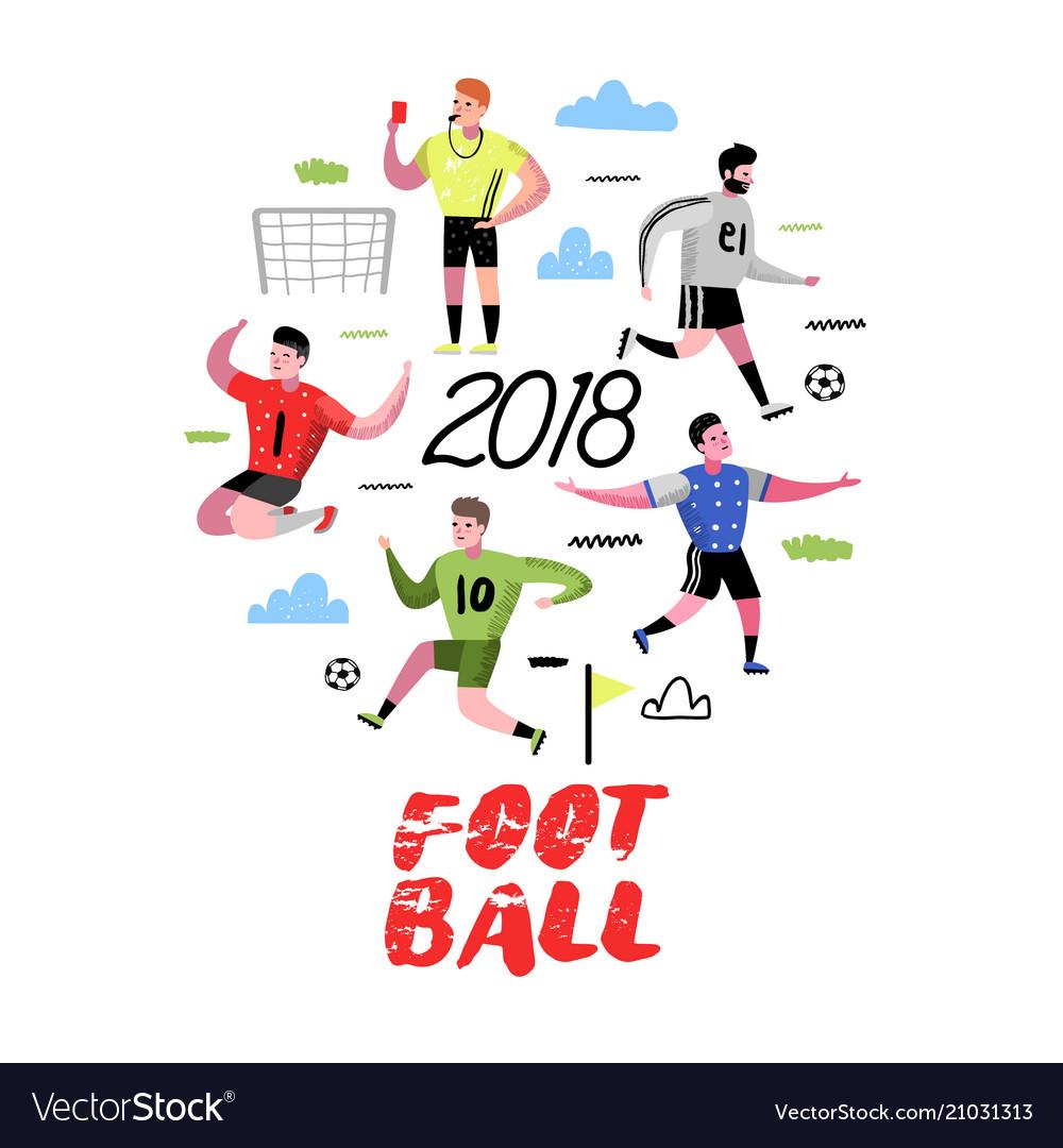 Soccer cartoon players doodle football player