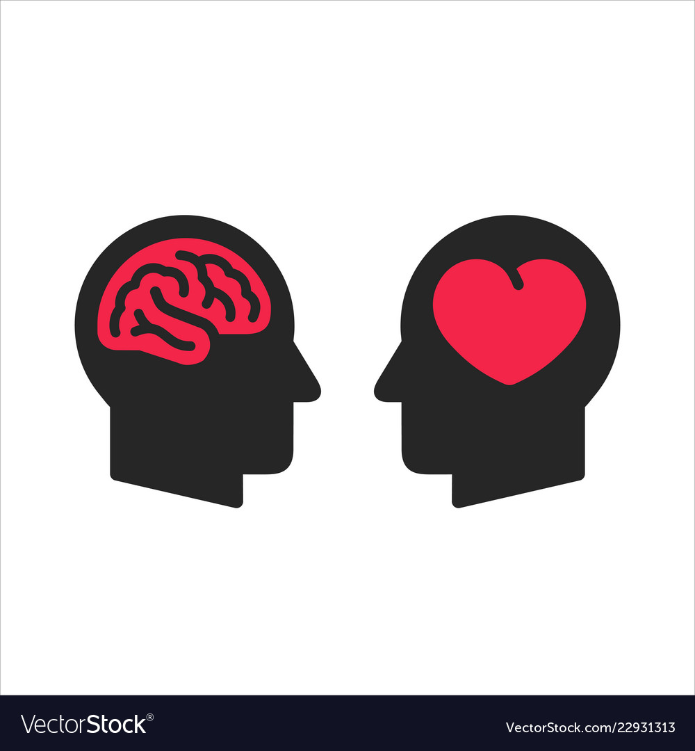 Two head silhouette with heart and brain symbols