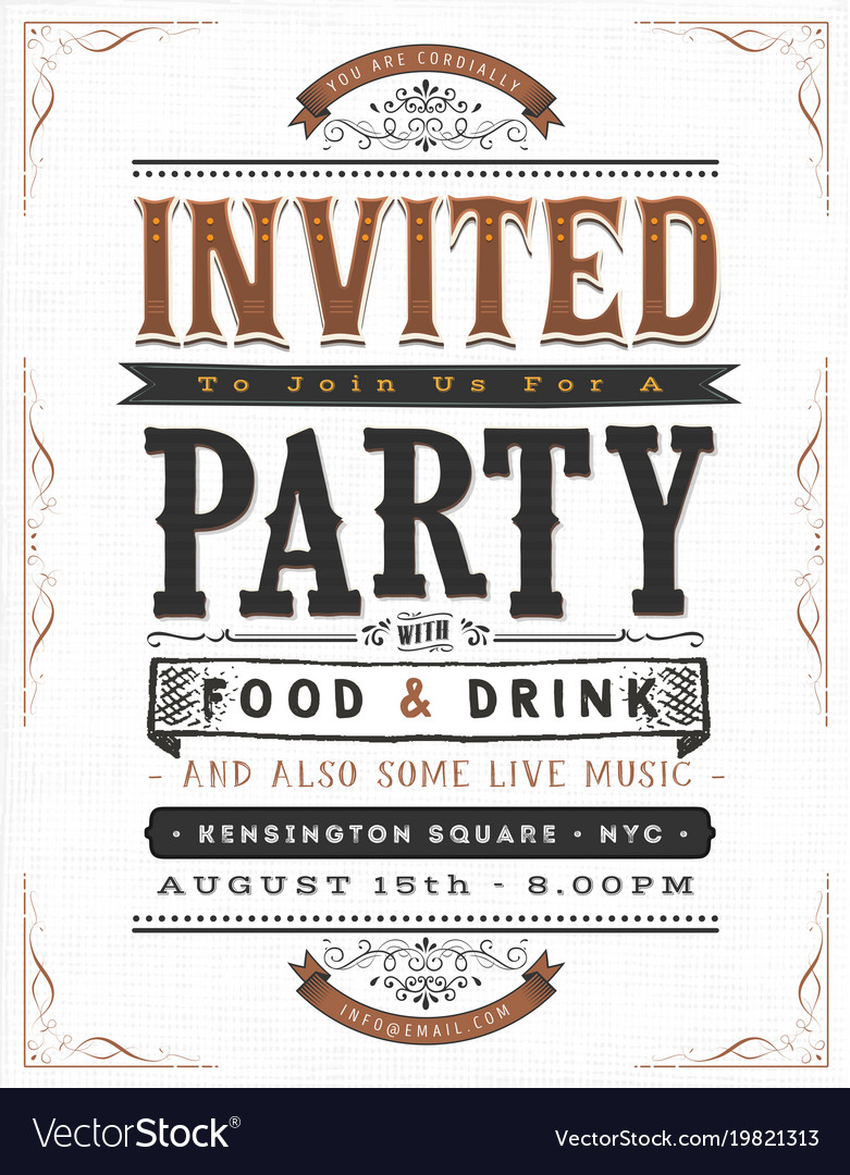 Vintage party invitation sign Royalty Free Vector Image