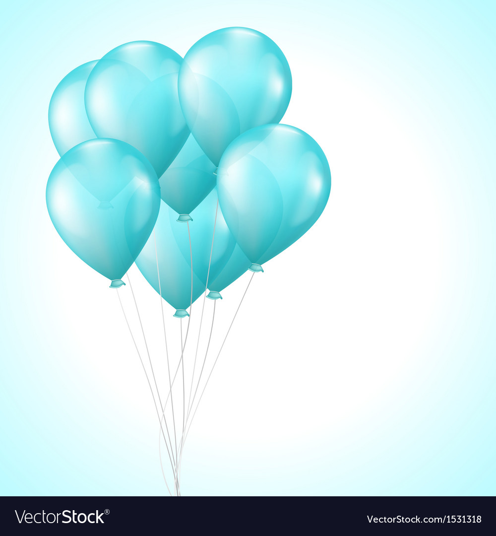 background with bright light blue balloons vector image