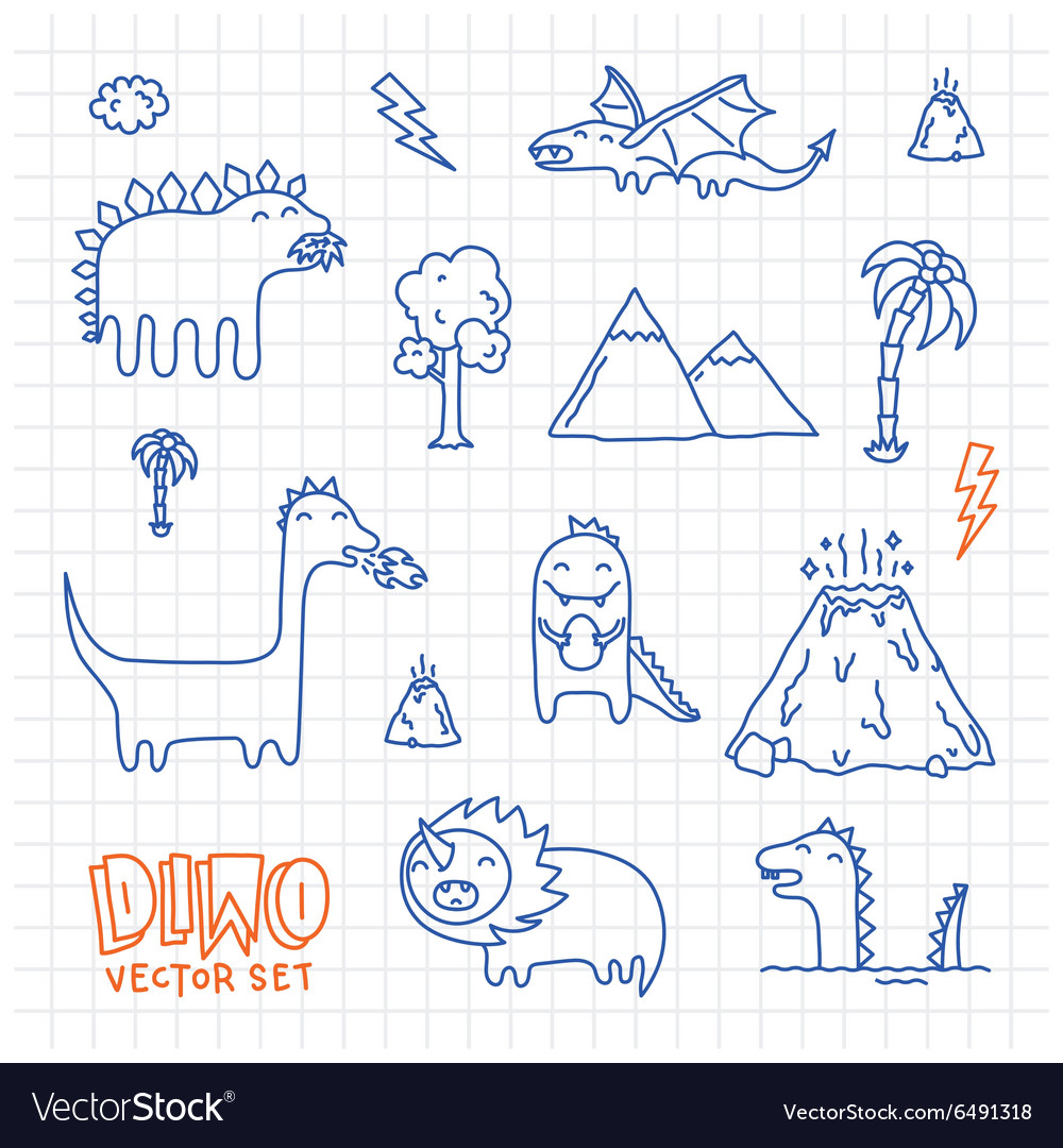 Dino ink doodles cartoon set vector image