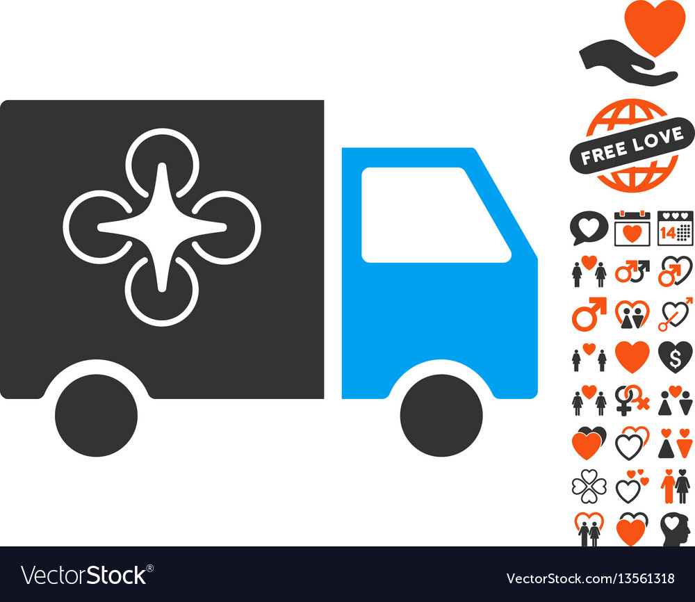 Drone delivery van icon with valentine bonus