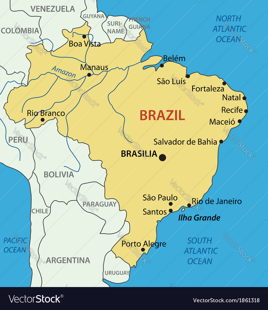 the map of brazil Federative Republic Of Brazil Map Royalty Free Vector the map of brazil
