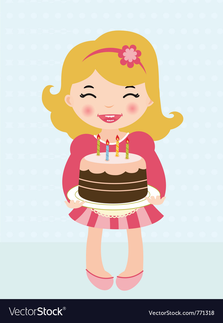 Marvelous Little Girl Birthday Cake Royalty Free Vector Image Funny Birthday Cards Online Elaedamsfinfo