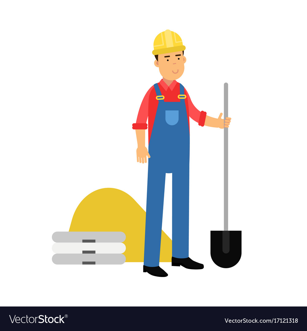 Male construction worker character standing with