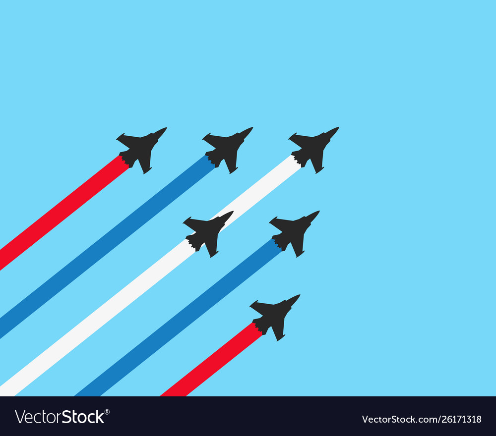 Military fighter jets with trails on a blue