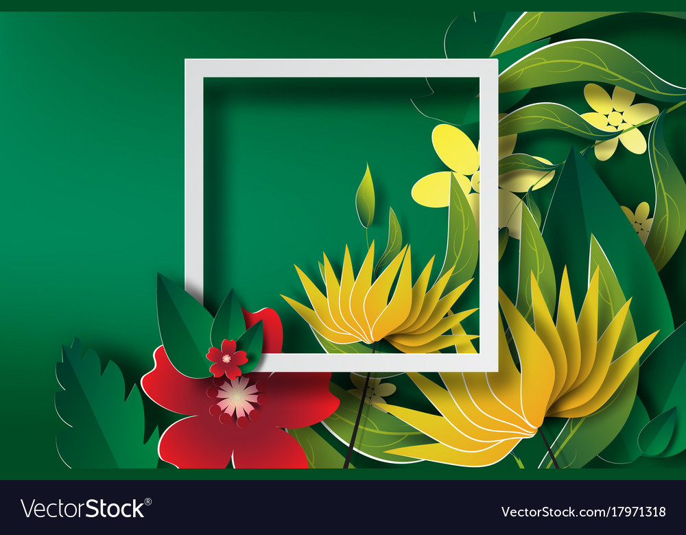 Paper art of frame with green leaf and flower
