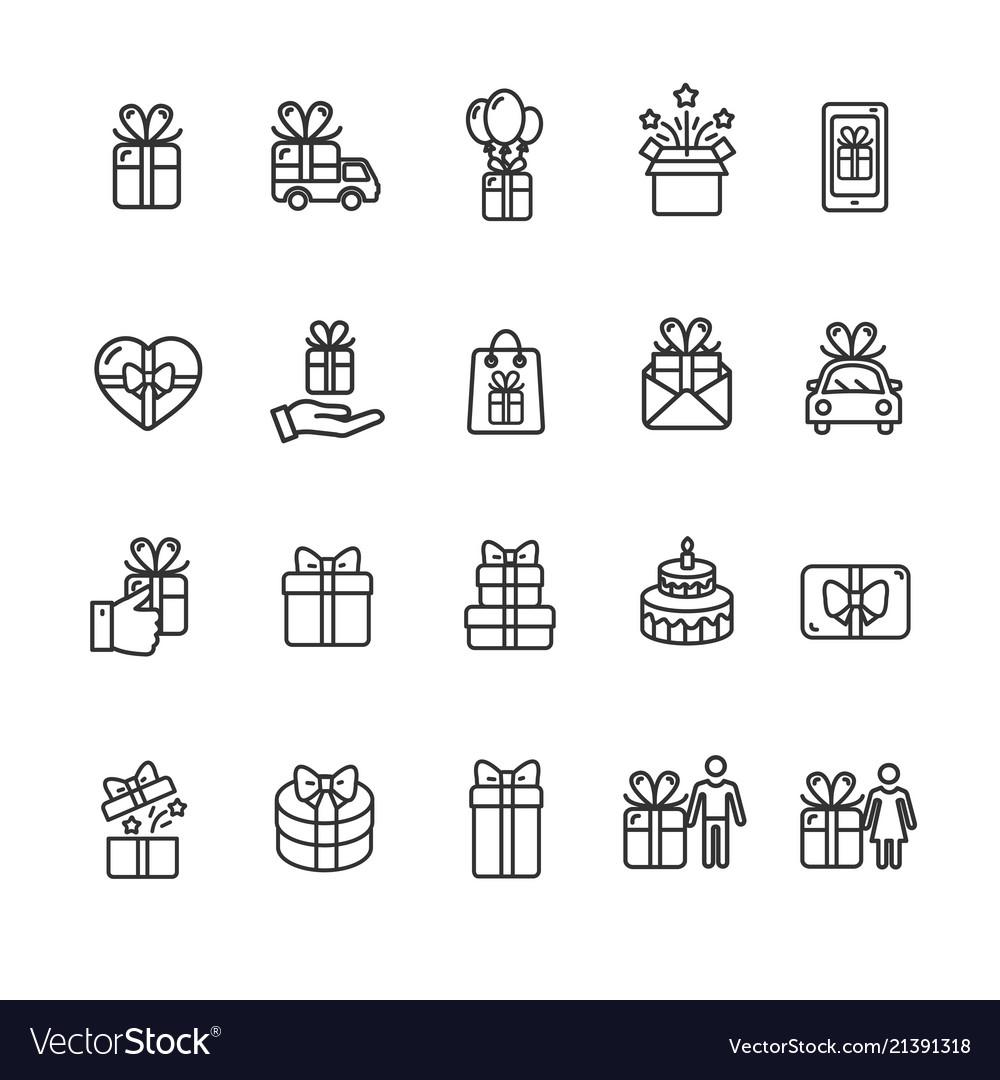Present gift signs black thin line icon set