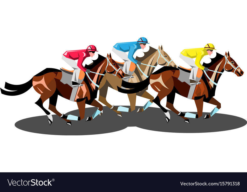 Racing horses competing with each other isolated