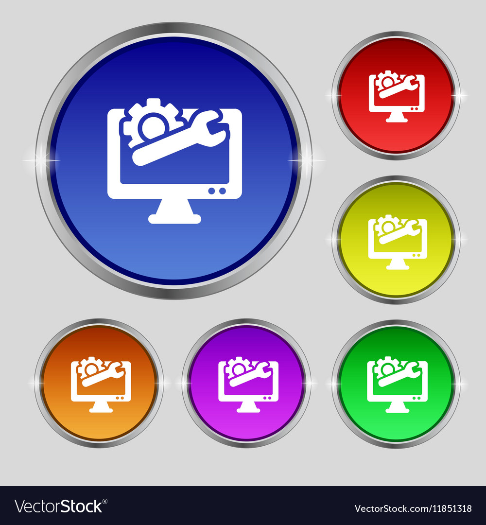 Repair computer icon sign Round symbol on bright vector image