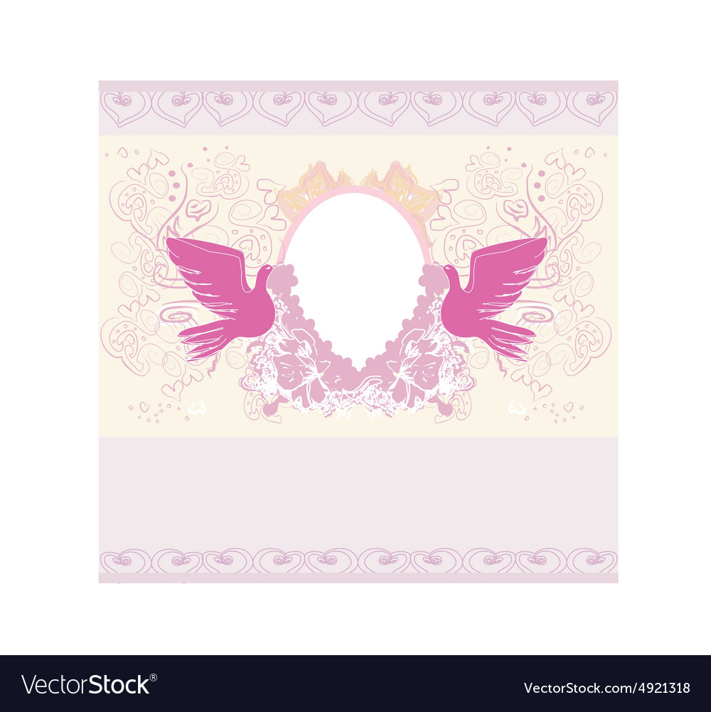 Romantic Card With Love Birds   Wedding Invitation Vector Image