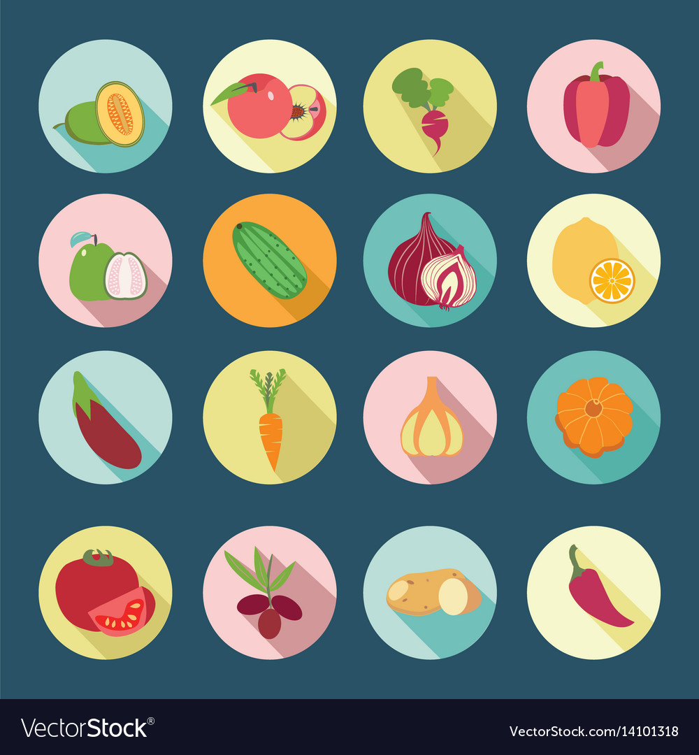 Set of fruits and vegetables flat design icons