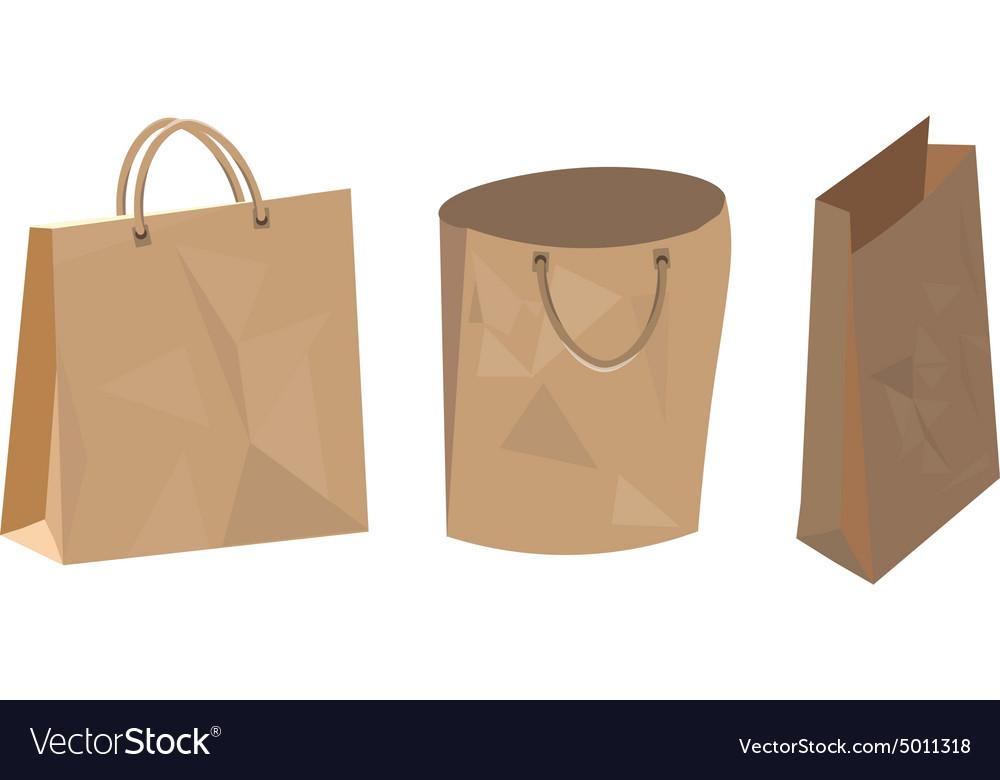 Set of paper bag for food shop and supermarket