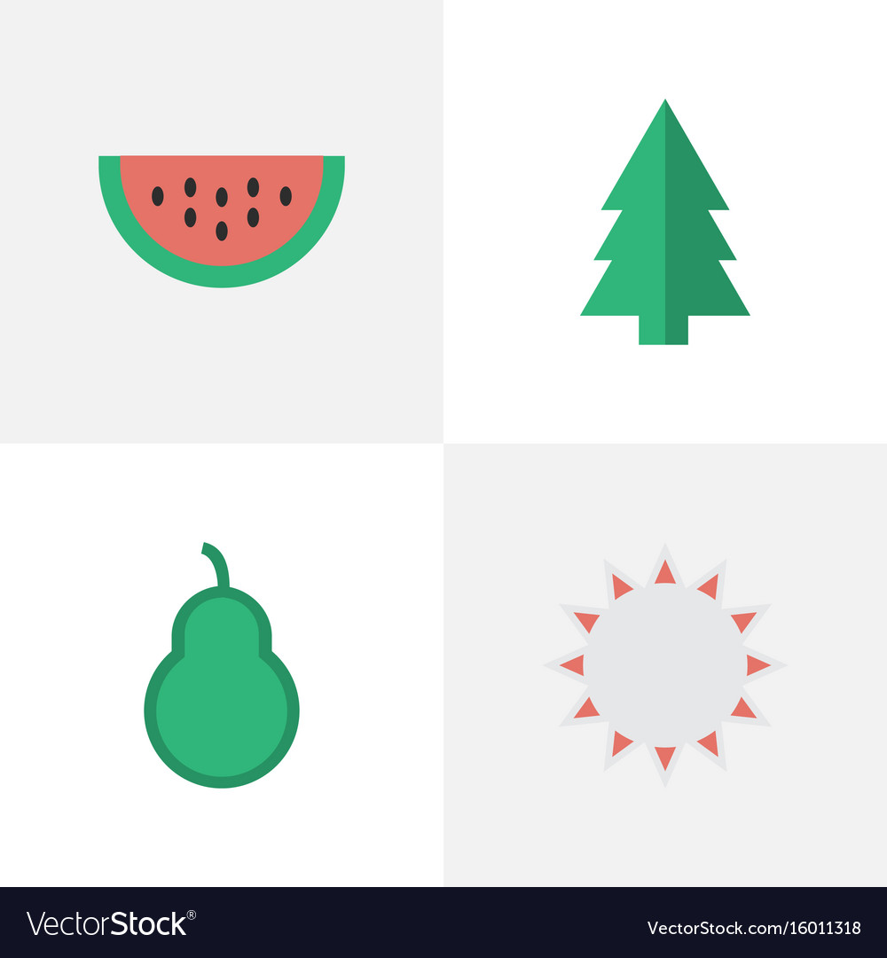 Set of simple horticulture icons elements sunny